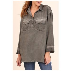 Gray Long Sleeve Distressed Tunic